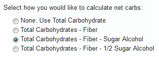 Net Carbohydrate Settings